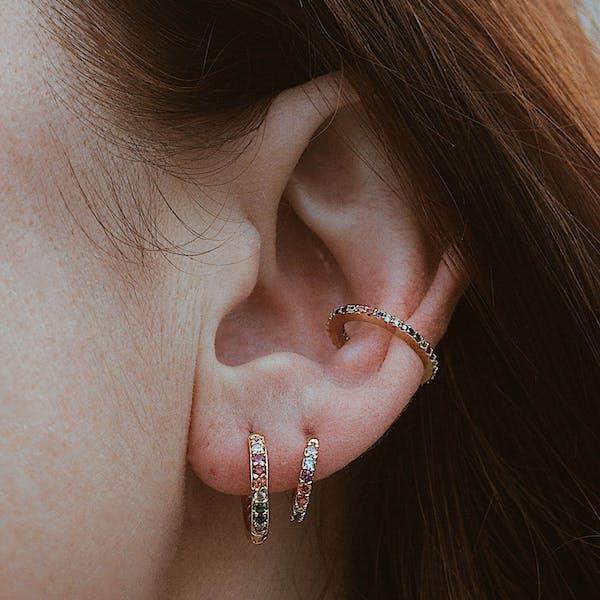 Rainbow Eternity Hoop Earrings in Sterling Silver on model