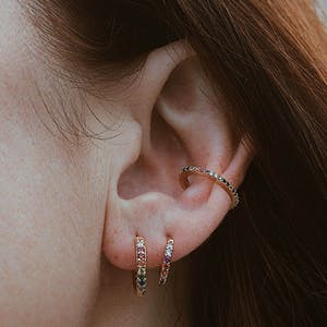 Rainbow Mini Eternity Hoop Earrings in Sterling Silver on model