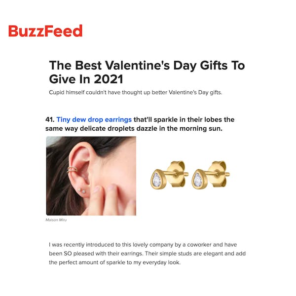 Our Tiny Dewdrop Studs as seen on BuzzFeed