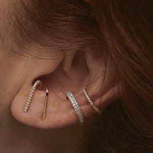 Classic Hook Earrings in Gold Vermeil on model