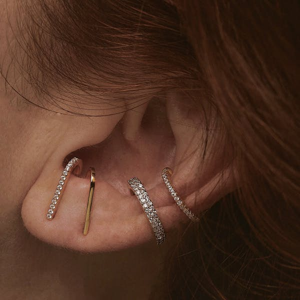 Celestial Hook Earrings in Gold Vermeil on model