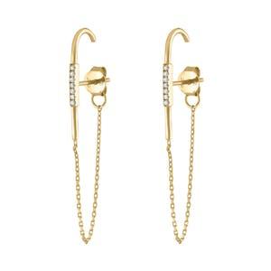 Celestial Suspender Chain Earrings in Gold Vermeil