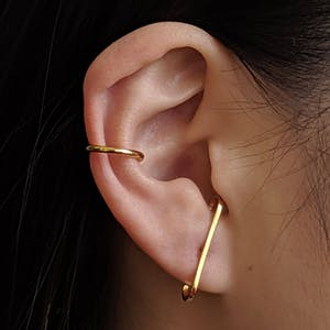 Classic Suspender Earrings in Gold Vermeil on model