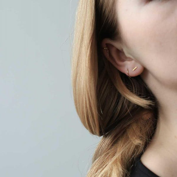 Classic Chain Ear Cuff on model