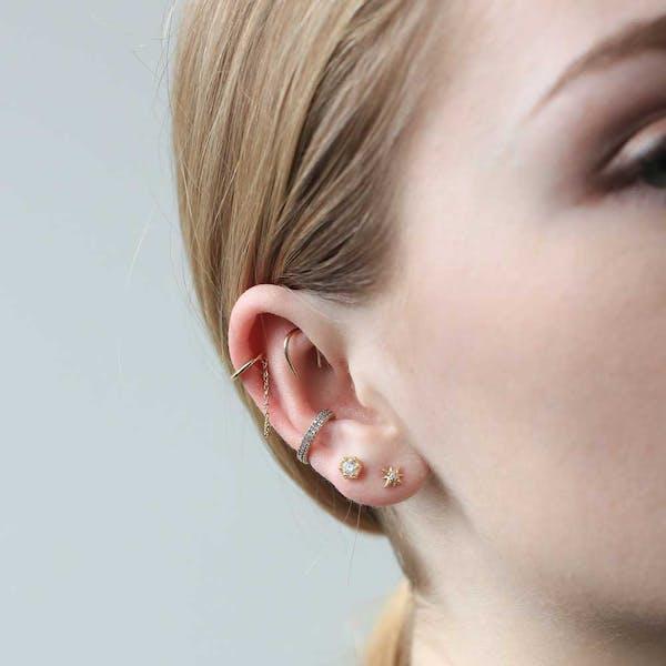 Whisper Open Hoop Earrings in 18g on model