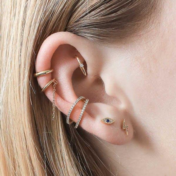 Evil Eye Threaded Flat Back Earring on model