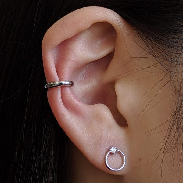 Classic Ear Cuff in Sterling Silver on model