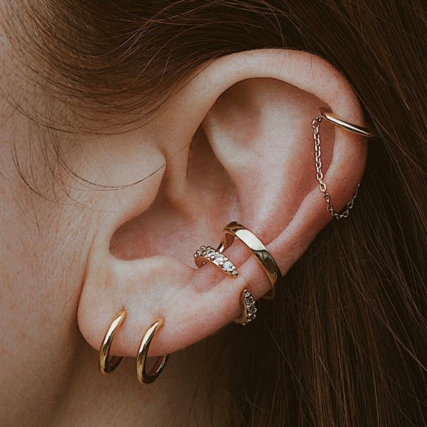 Classic Chain Ear Cuff in Sterling Silver on model