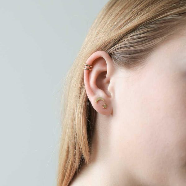 Classic Ear Cuff in Gold on model