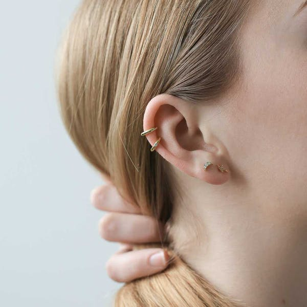 Pave Lightning Threaded Flat Back Earring on model