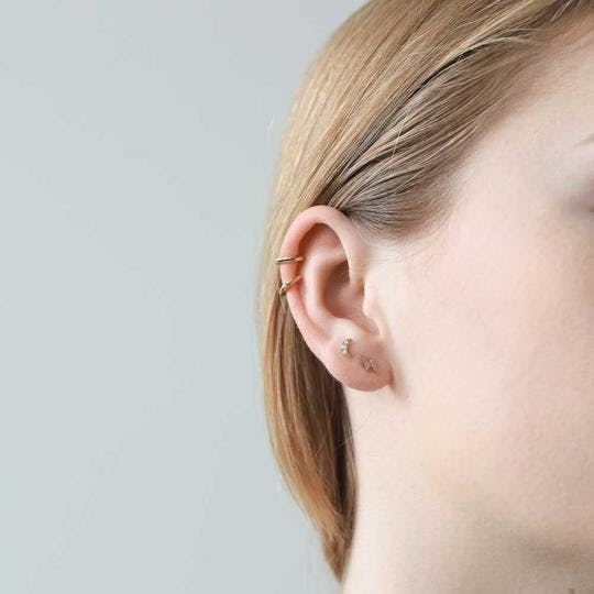Pave Moon Push Pin Flat Back Earring in Gold on model