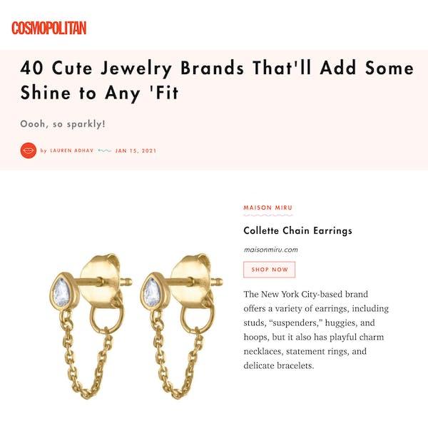 Our Colette Earrings as seen in Cosmopolitan