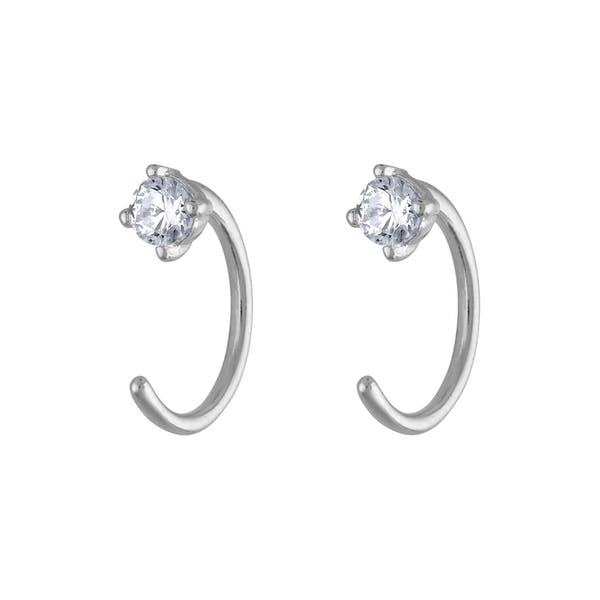 Crystal Huggie Earrings in Sterling Silver