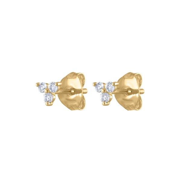 Crystal Trinity Studs in 14k Gold