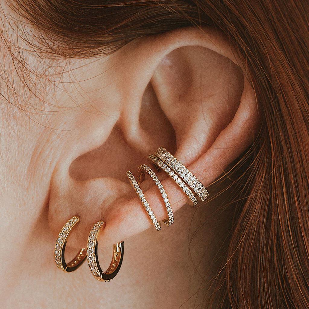 Tri-Color Ear Cuff Sterling Silver