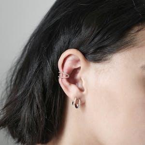 Eternity Hoop Earrings on model