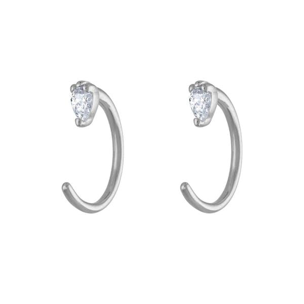 Dewdrop Huggie Earrings in Sterling Silver