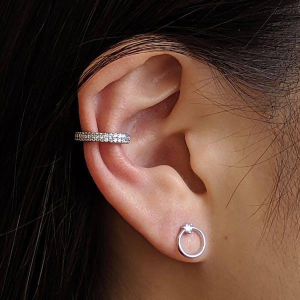 Double Eternity Arc Ear Cuff in Sterling Silver on model