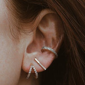 Double Eternity Arc Ear Cuff on model