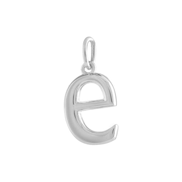 """E"" Charm in Sterling Silver"