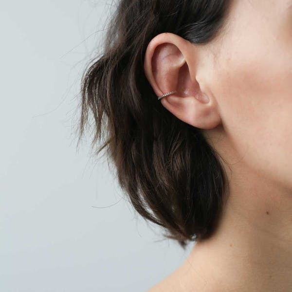 Eternity Ear Cuff in Sterling Silver on model