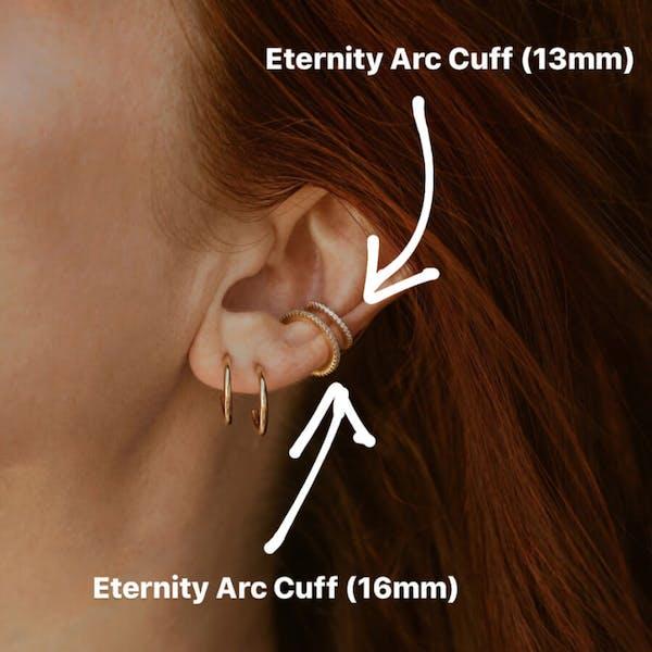 Eternity Arc Ear Cuff size chart (Gold)