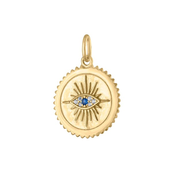 Evil Eye Medallion in Gold Vermeil