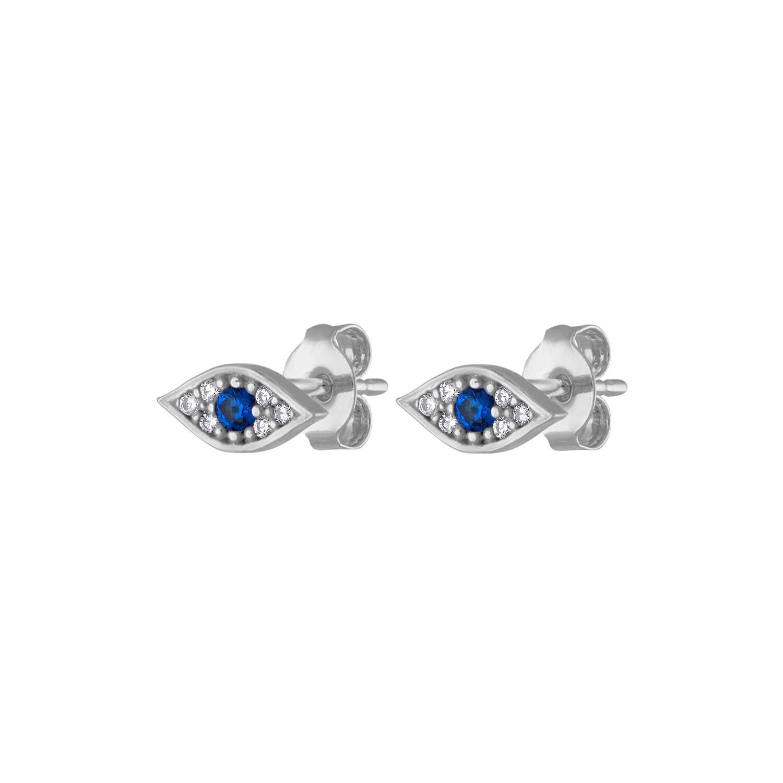 Unique stud earrings Evil eye earrings sterling silver Statement studs Silver studs Large silver stud earrings Evil eye studs large