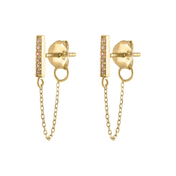 Mini Falling Star Chain Earrings in 14k Gold