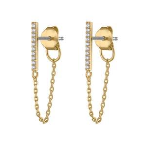 Falling Star Crystal Chain Earrings