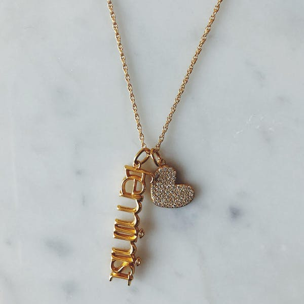 Pave Heart Charm in Gold Vermeil