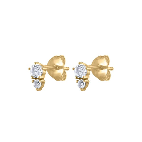 Gaia Crystal Studs in 14k Gold