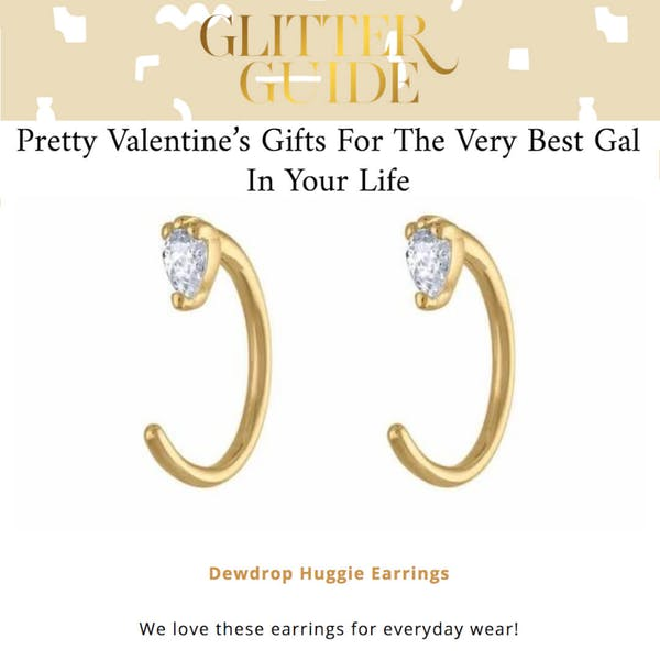 Dewdrop Huggie Earrings featured on The Glitter Guide