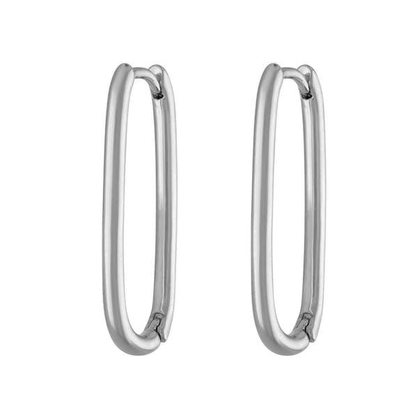 Halo Oval Hoop Earrings in Sterling Silver