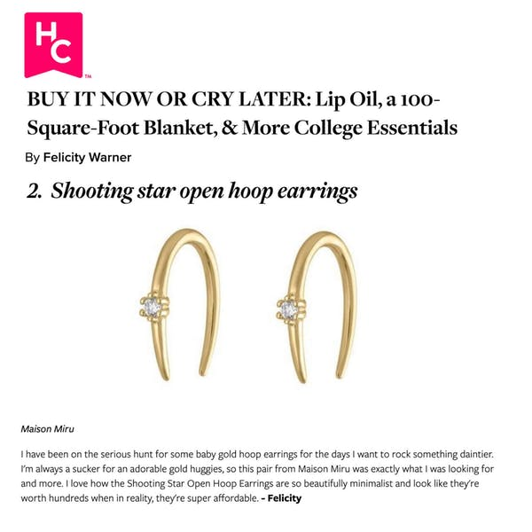 Our Shooting Star Open Hoops as seen on Her Campus