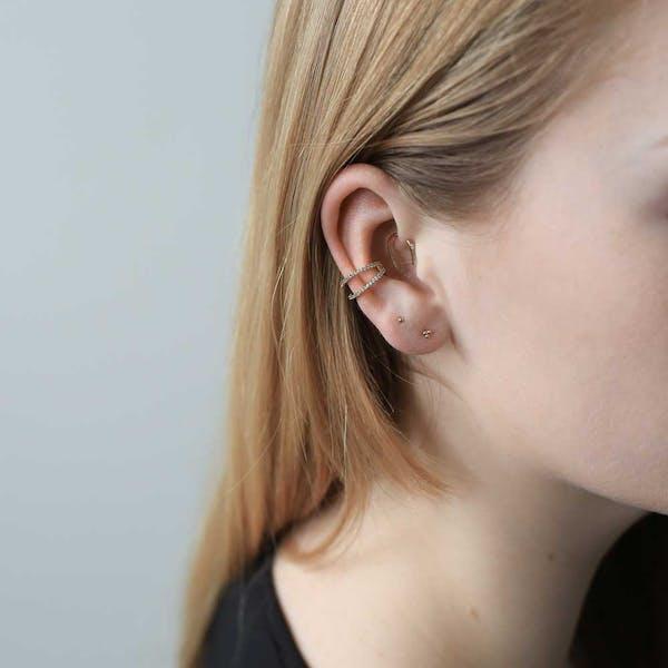 Infinite Ear Cuff in Sterling Silver on model