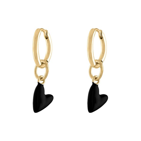 Black Heart Huggies in Gold Vermeil
