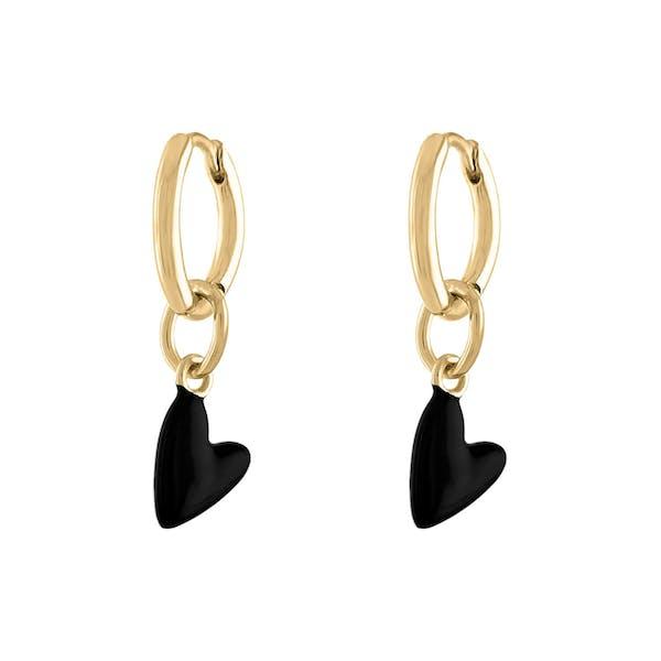 Black Heart Huggies in Gold Vermeil
