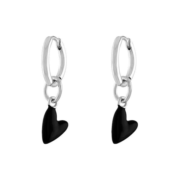 Black Heart Huggies in Sterling Silver