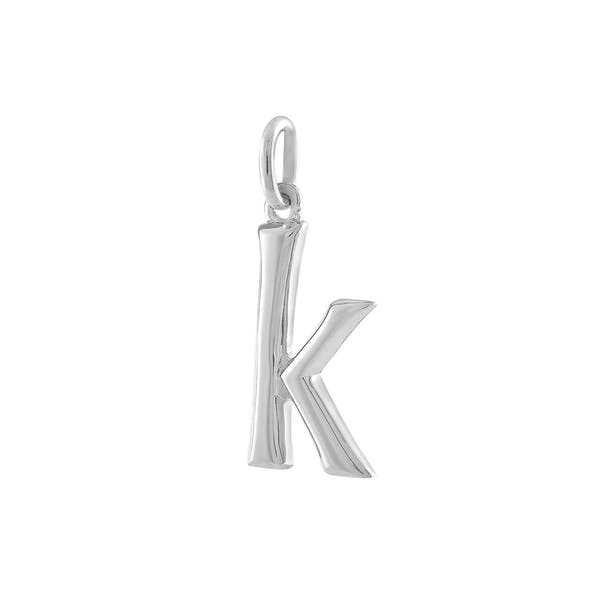 """K"" Charm in Sterling Silver"