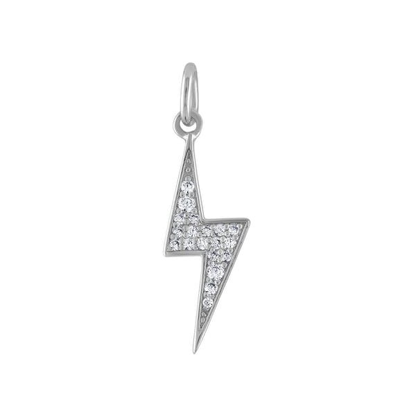 Pave Lightning Charm in Sterling Silver