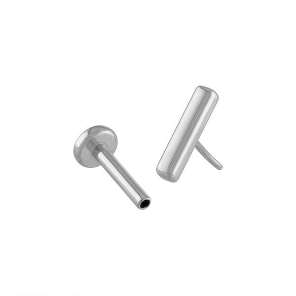 Little Bar Push Pin Flat Back Earring in Silver
