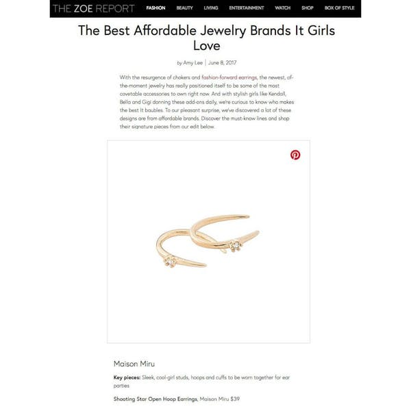 Shooting Star Open Hoops in 14K Gold as seen on The Zoe Report
