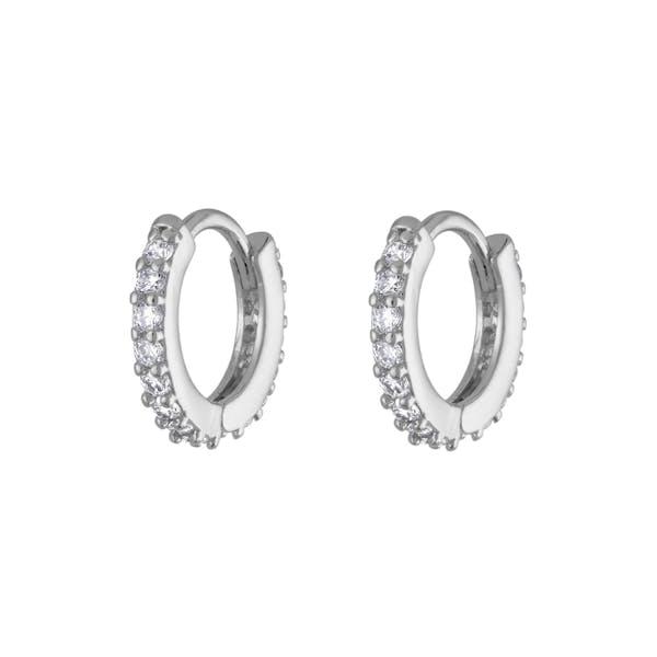 Mini Eternity Hoop Earrings in Sterling Silver