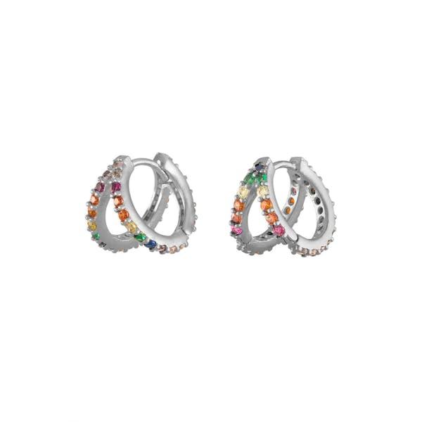 Rainbow Infinite Huggie Earrings in Sterling Silver