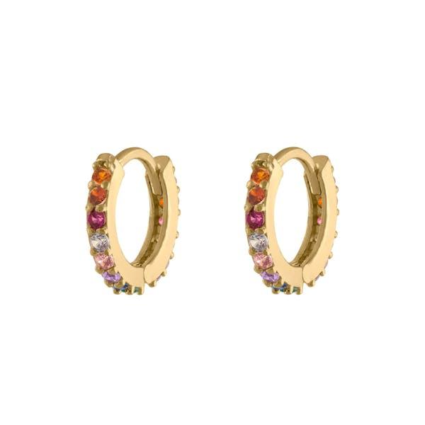 Rainbow Mini Eternity Hoop Earrings