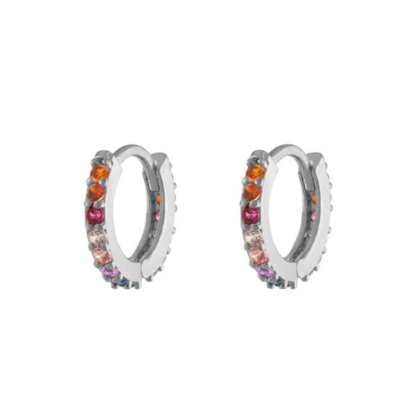 Rainbow Mini Eternity Hoop Earrings in Sterling Silver