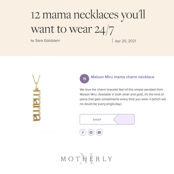 Our Mama Charm Necklace as seen on Motherly