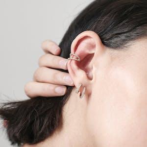 Eternity Hoop Earrings in Sterling Silver on model