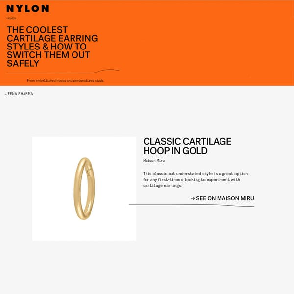 Classic Cartilage Hoop as seen in Nylon